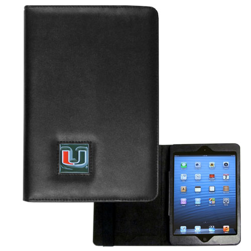 Miami Hurricanes iPad Mini Leather Case - Miami Hurricanes iPad Mini Leather Case is the perfect iPad mini accessory. The iPad mini slides easily into the inner sleeve that allows complete accessibility to all of the devices features and is the protected by the attractive out cover that can be secured closed or open while working with a simple stretch band. The Miami Hurricanes iPad Mini Case features a cast and enameled college emblem. Thank you for shopping with CrazedOutSports.com