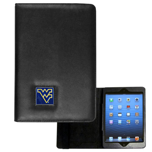 W. Virginia Mountaineers iPad Mini Case - The perfect iPad mini accessory. The iPad mini slides easily into the inner sleeve that allows complete accessibility to all of the devices features and is the protected by the attractive out cover that can be secured closed or open while working with a simple stretch band. The great case features a cast and enameled college emblem. Thank you for shopping with CrazedOutSports.com