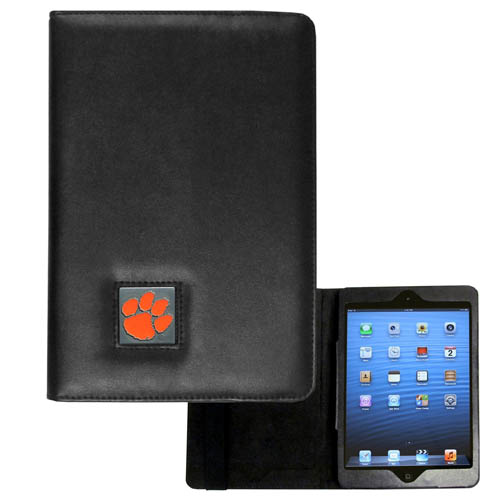 Clemson Tigers iPad Mini Case - The perfect iPad mini accessory. The iPad mini slides easily into the inner sleeve that allows complete accessibility to all of the devices features and is the protected by the attractive out cover that can be secured closed or open while working with a simple stretch band. The great case features a cast and enameled Clemson Tigers college emblem. Thank you for shopping with CrazedOutSports.com