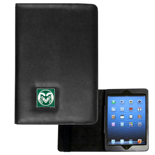 Colorado St. Rams iPad Mini Case - The perfect iPad mini accessory. The iPad mini slides easily into the inner sleeve that allows complete accessibility to all of the devices features and is the protected by the attractive out cover that can be secured closed or open while working with a simple stretch band. The great case features a cast and enameled Colorado State Rams college emblem. Thank you for shopping with CrazedOutSports.com