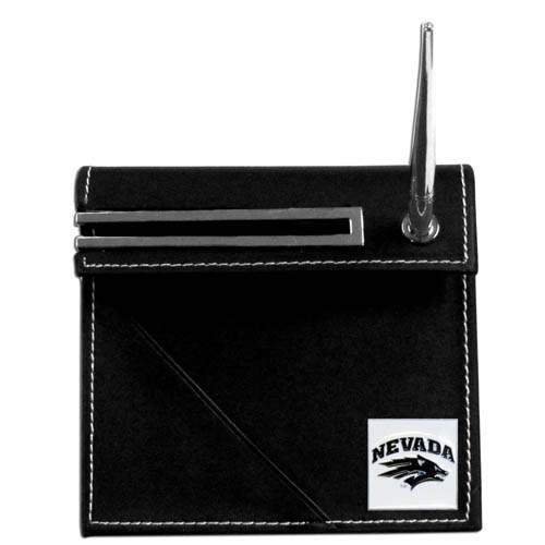Nevada Desk Set - Our classic collegiate desk set features a slot for a note pad, a slot for your business cards and comes with a stylish pen. The set shows off your school pride with a hand enameled school emblem. Thank you for shopping with CrazedOutSports.com