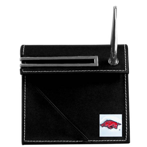 Arkansas Razorbacks Desk Set - Our classic Arkansas Razorbacks collegiate desk set features a slot for a note pad, a slot for your business cards and comes with a stylish pen. The set shows off your school pride with a hand enameled school emblem. Thank you for shopping with CrazedOutSports.com