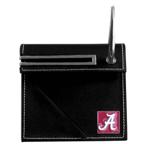 Alabama Crimson Tide Desk Set - Our classic collegiate Alabama Crimson Tide desk set features a slot for a note pad, a slot for your business cards and comes with a stylish pen. The set shows off your school pride with a hand enameled Alabama Crimson Tide school emblem. Thank you for shopping with CrazedOutSports.com