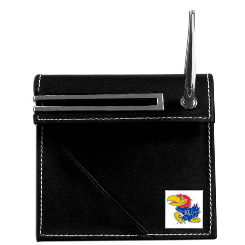 Kansas Jayhawks Desk Set - This classic Kansas Jayhawks desk set features a slot for a note pad, a slot for your business cards and comes with a stylish pen. The Kansas Jayhawks Desk Set shows off your school pride with a hand enameled school emblem. Thank you for shopping with CrazedOutSports.com