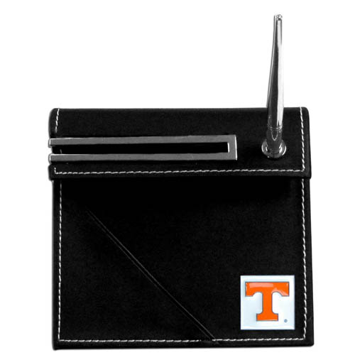 Tennessee Desk Set - Our classic collegiate desk set features a slot for a note pad, a slot for your business cards and comes with a stylish pen. The set shows off your school pride with a hand enameled school emblem. Thank you for shopping with CrazedOutSports.com