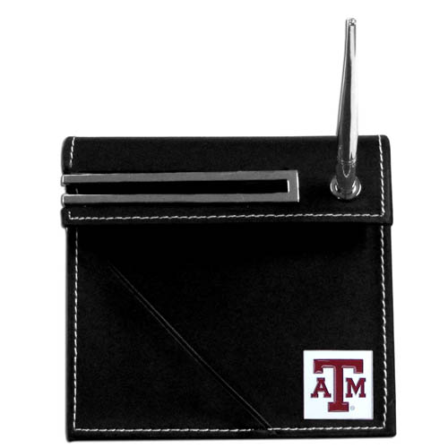Texas AandM Desk Set - Our classic collegiate desk set features a slot for a note pad, a slot for your business cards and comes with a stylish pen. The set shows off your school pride with a hand enameled school emblem. Thank you for shopping with CrazedOutSports.com