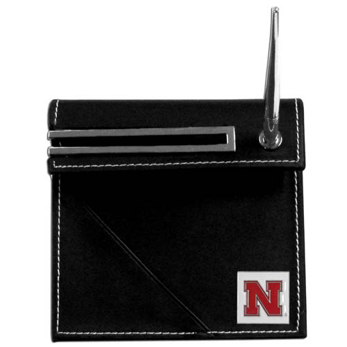 Nebraska Desk Set - Our classic collegiate desk set features a slot for a note pad, a slot for your business cards and comes with a stylish pen. The set shows off your school pride with a hand enameled school emblem. Thank you for shopping with CrazedOutSports.com