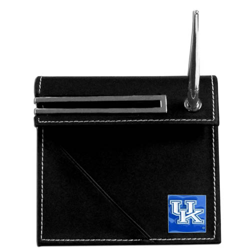 Kentucky Desk Set - Our classic collegiate desk set features a slot for a note pad, a slot for your business cards and comes with a stylish pen. The set shows off your school pride with a hand enameled school emblem. Thank you for shopping with CrazedOutSports.com
