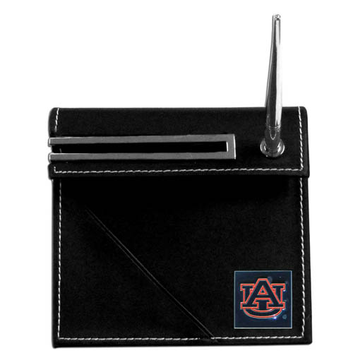 Auburn Tigers Desk Set - Our classic collegiate desk set features a slot for a note pad, a slot for your business cards and comes with a stylish pen. The set shows off your Auburn Tigers pride with a hand enameled school emblem. Thank you for shopping with CrazedOutSports.com