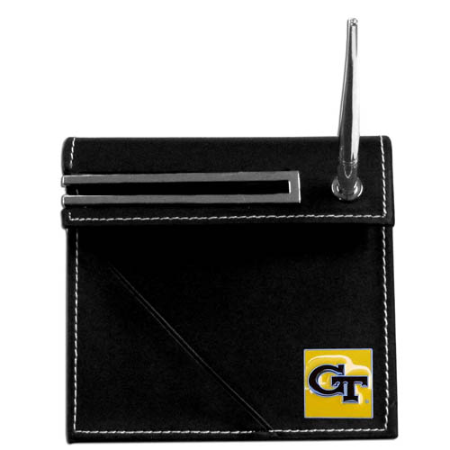 Georgia Tech Yellow Jackets Desk Set - Our classic Georgia Tech Yellow Jackets collegiate desk set features a slot for a note pad, a slot for your business cards and comes with a stylish pen. The set shows off your school pride with a hand enameled school emblem. Thank you for shopping with CrazedOutSports.com