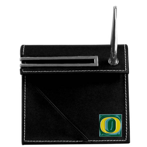 Oregon Desk Set - Our classic collegiate desk set features a slot for a note pad, a slot for your business cards and comes with a stylish pen. The set shows off your school pride with a hand enameled school emblem. Thank you for shopping with CrazedOutSports.com