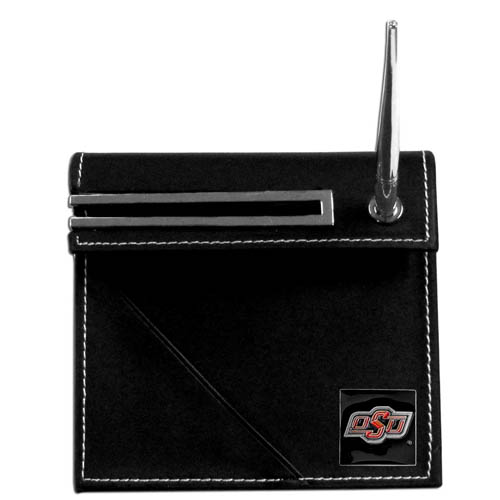 Oklahoma State Desk Set - Our classic collegiate desk set features a slot for a note pad, a slot for your business cards and comes with a stylish pen. The set shows off your school pride with a hand enameled school emblem. Thank you for shopping with CrazedOutSports.com