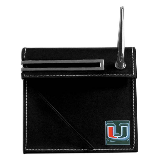 Miami Hurricanes Desk Set - Our classic collegiate Miami Hurricanes Desk Set features a slot for a note pad, a slot for your business cards and comes with a stylish pen. The Miami Hurricanes Desk Set shows off your school pride with a hand enameled school emblem. Thank you for shopping with CrazedOutSports.com
