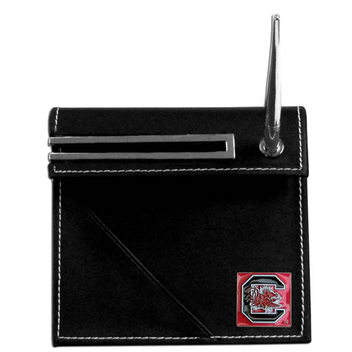 South Carolina Desk Set - Our classic collegiate desk set features a slot for a note pad, a slot for your business cards and comes with a stylish pen. The set shows off your school pride with a hand enameled school emblem. Thank you for shopping with CrazedOutSports.com