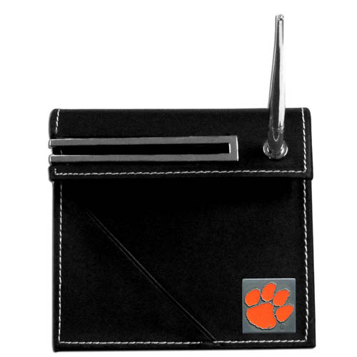Clemson Tigers Desk Set - Our classic collegiate desk set features a slot for a note pad, a slot for your business cards and comes with a stylish pen. The set shows off your Clemson Tigers pride with a hand enameled school emblem. Thank you for shopping with CrazedOutSports.com