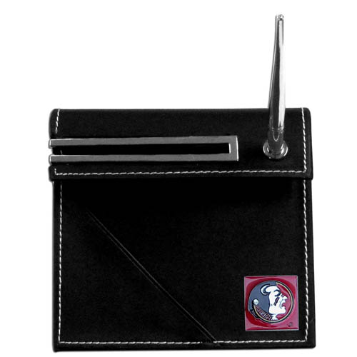 Florida State Seminoles Desk Set - Our classic Florida State Seminoles collegiate desk set features a slot for a note pad, a slot for your business cards and comes with a stylish pen. The set shows off your school pride with a hand enameled Florida State Seminoles emblem. Thank you for shopping with CrazedOutSports.com
