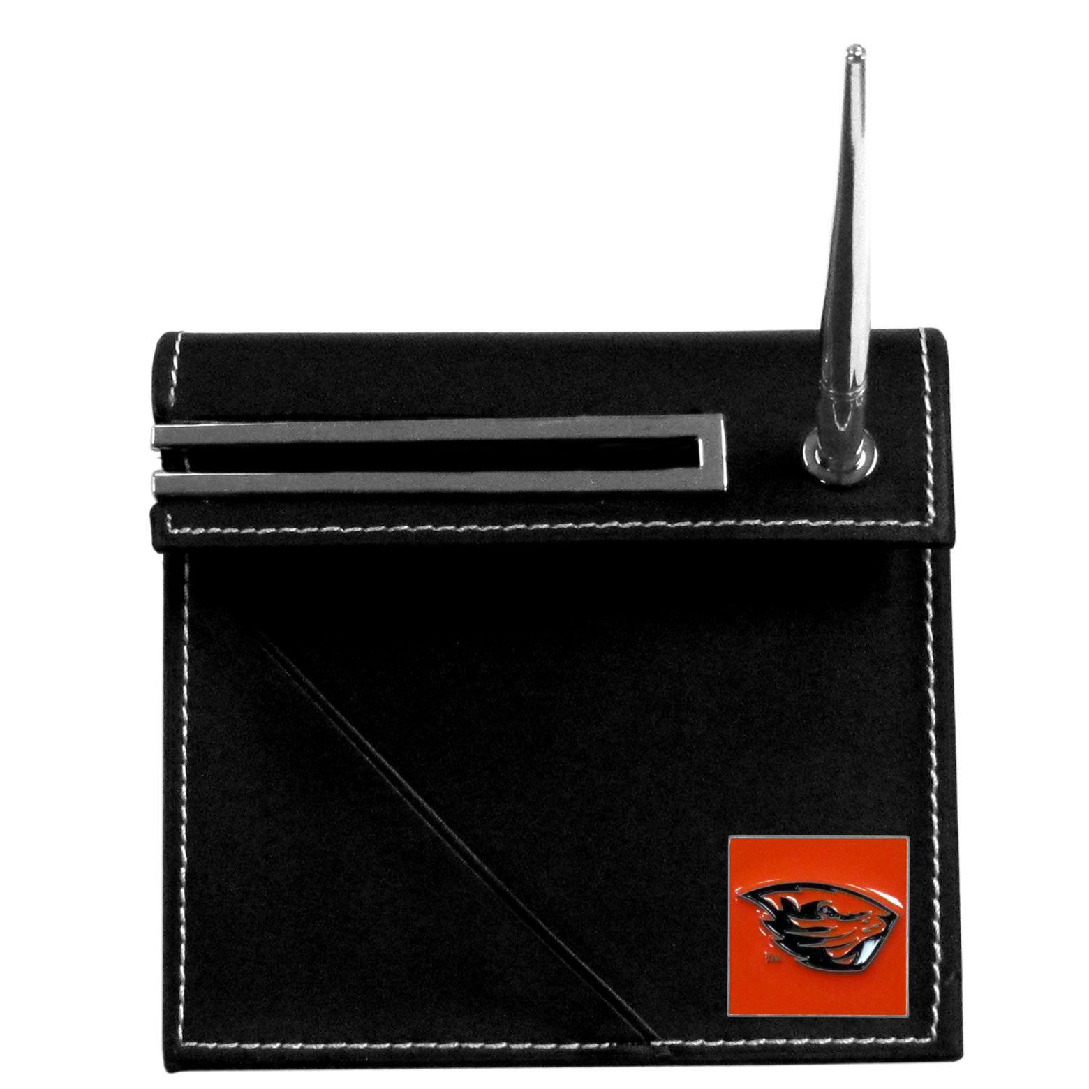 Oregon St. Beavers Desk Set - Our classic Oregon St. Beavers desk set features a slot for a note pad, a slot for your business cards and comes with a stylish pen. The set shows off your school pride with a hand enameled team emblem.