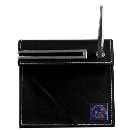 Boise State Broncos Desk Set - Our classic collegiate desk set features a slot for a note pad, a slot for your business cards and comes with a stylish pen. The set shows off your school pride with a hand enameled Boise State Broncos emblem. Thank you for shopping with CrazedOutSports.com