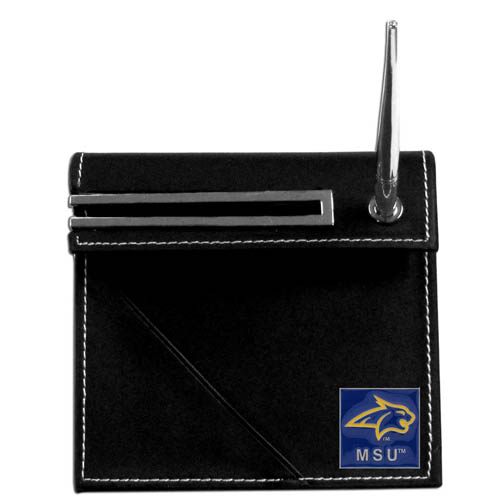 Montana State Desk Set - Our classic collegiate desk set features a slot for a note pad, a slot for your business cards and comes with a stylish pen. The set shows off your school pride with a hand enameled school emblem. Thank you for shopping with CrazedOutSports.com