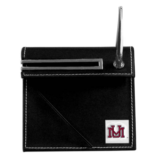 Montana  Desk Set - Our classic collegiate desk set features a slot for a note pad, a slot for your business cards and comes with a stylish pen. The set shows off your school pride with a hand enameled school emblem. Thank you for shopping with CrazedOutSports.com