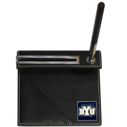 BYU Cougars Desk Set - Our classic collegiate desk set features a slot for a note pad, a slot for your business cards and comes with a stylish pen. The set shows off your BYU Cougars pride with a hand enameled school emblem. Thank you for shopping with CrazedOutSports.com