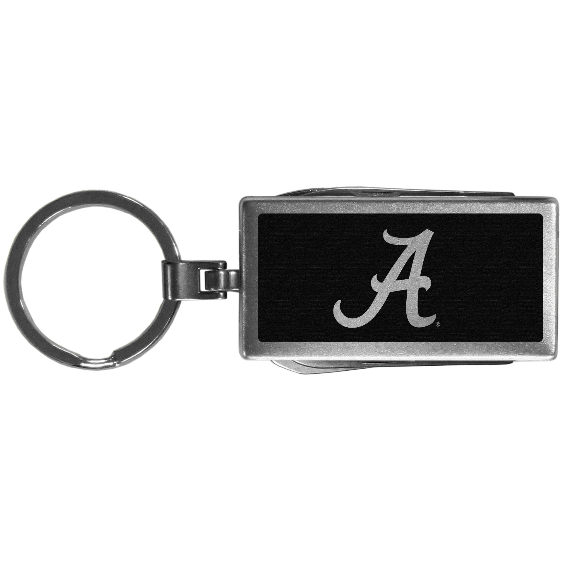 Alabama Crimson Tide Multi-tool Key Chain, Black - Be the hero at the tailgate, camping, or on a Friday night with your Alabama Crimson Tide Multi-Tool Keychain which comes complete with bottle opener, scissors, knife, nail file and screw driver. Be it opening a package or a beverage Siskiyou's Multi-Tool Keychain goes wherever your keys do. The keychain hangs at 4 inches long when closed.
