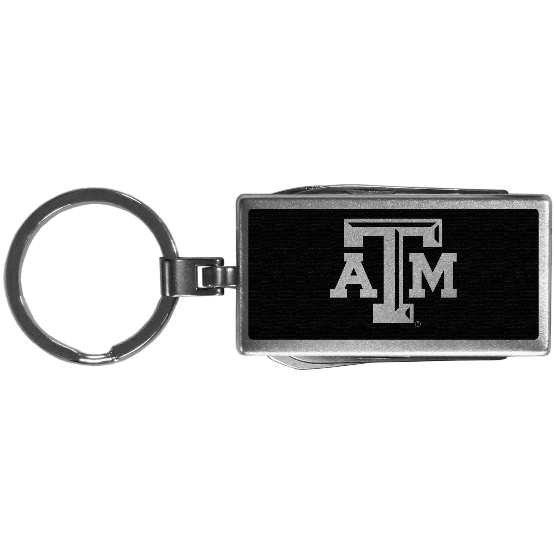 Texas A and M Aggies Multi-tool Key Chain, Black - Be the hero at the tailgate, camping, or on a Friday night with your Texas A & M Aggies Multi-Tool Keychain which comes complete with bottle opener, scissors, knife, nail file and screw driver. Be it opening a package or a beverage Siskiyou's Multi-Tool Keychain goes wherever your keys do. The keychain hangs at 4 inches long when closed.