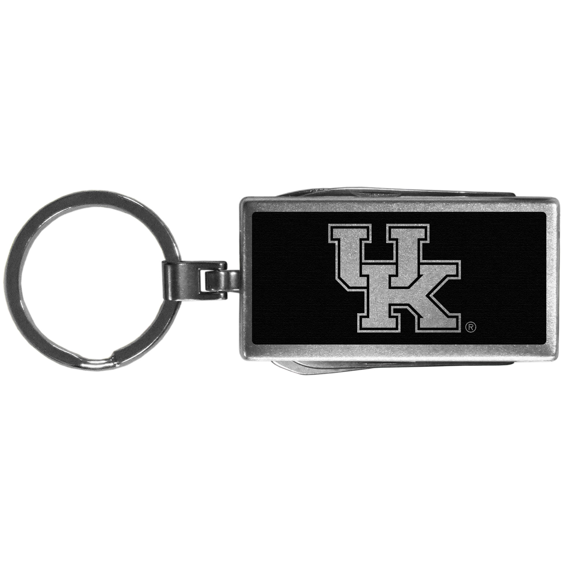 Kentucky Wildcats Multi-tool Key Chain, Black - Be the hero at the tailgate, camping, or on a Friday night with your Kentucky Wildcats Multi-Tool Keychain which comes complete with bottle opener, scissors, knife, nail file and screw driver. Be it opening a package or a beverage Siskiyou's Multi-Tool Keychain goes wherever your keys do. The keychain hangs at 4 inches long when closed.