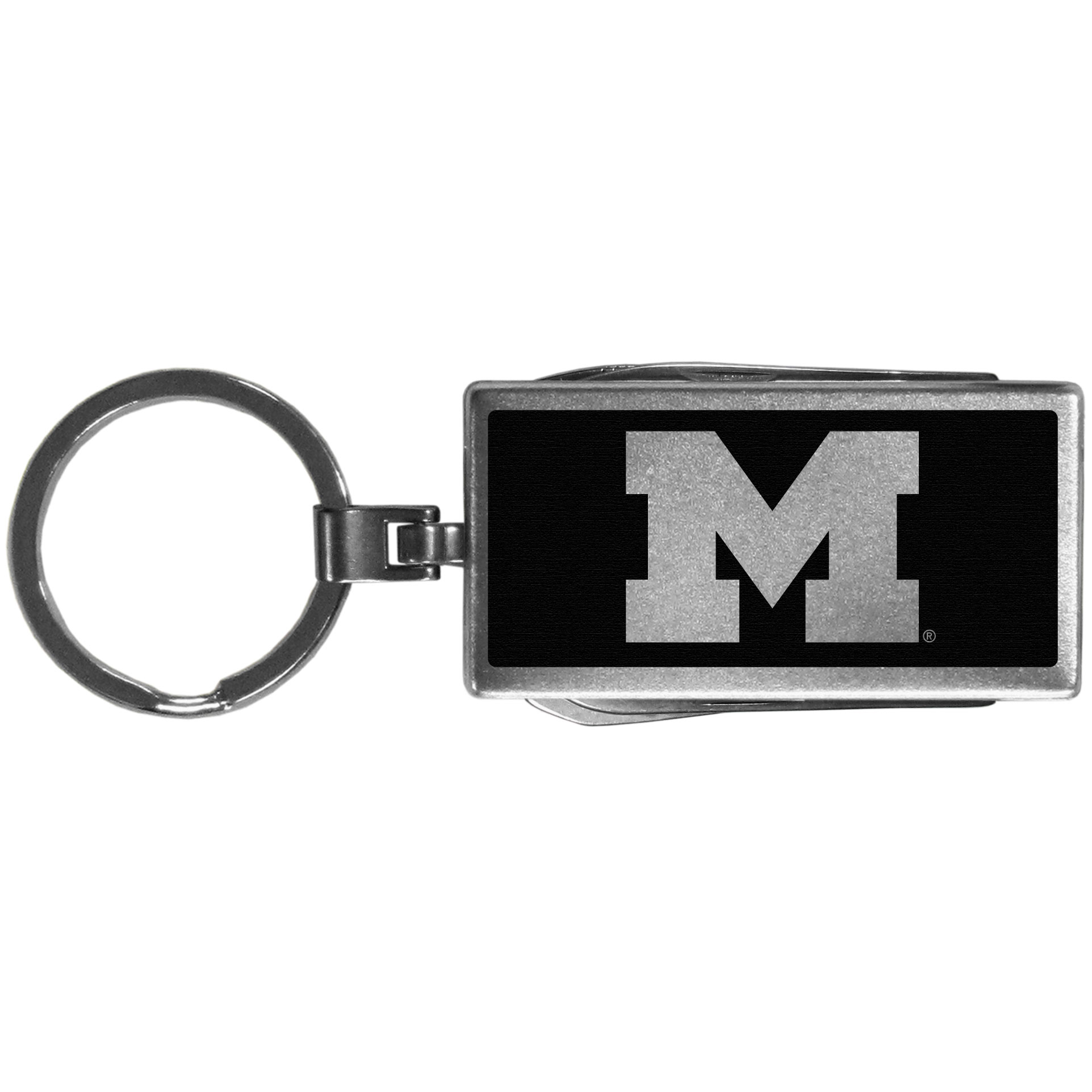 Michigan Wolverines Multi-tool Key Chain, Black - Be the hero at the tailgate, camping, or on a Friday night with your Michigan Wolverines Multi-Tool Keychain which comes complete with bottle opener, scissors, knife, nail file and screw driver. Be it opening a package or a beverage Siskiyou's Multi-Tool Keychain goes wherever your keys do. The keychain hangs at 4 inches long when closed.