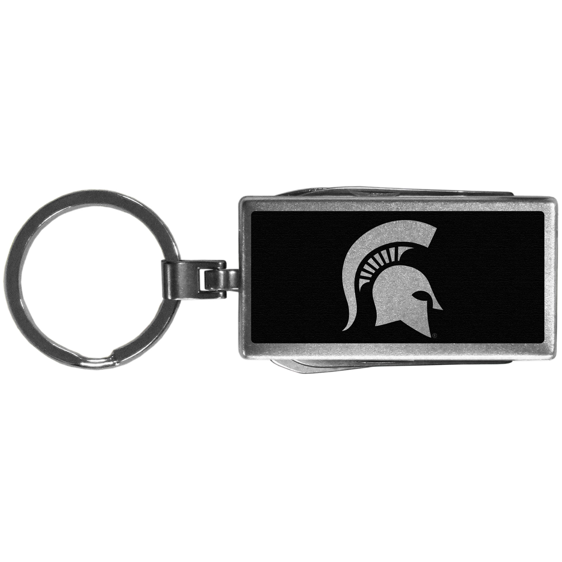 Michigan St. Spartans Multi-tool Key Chain, Black - Be the hero at the tailgate, camping, or on a Friday night with your Michigan St. Spartans Multi-Tool Keychain which comes complete with bottle opener, scissors, knife, nail file and screw driver. Be it opening a package or a beverage Siskiyou's Multi-Tool Keychain goes wherever your keys do. The keychain hangs at 4 inches long when closed.