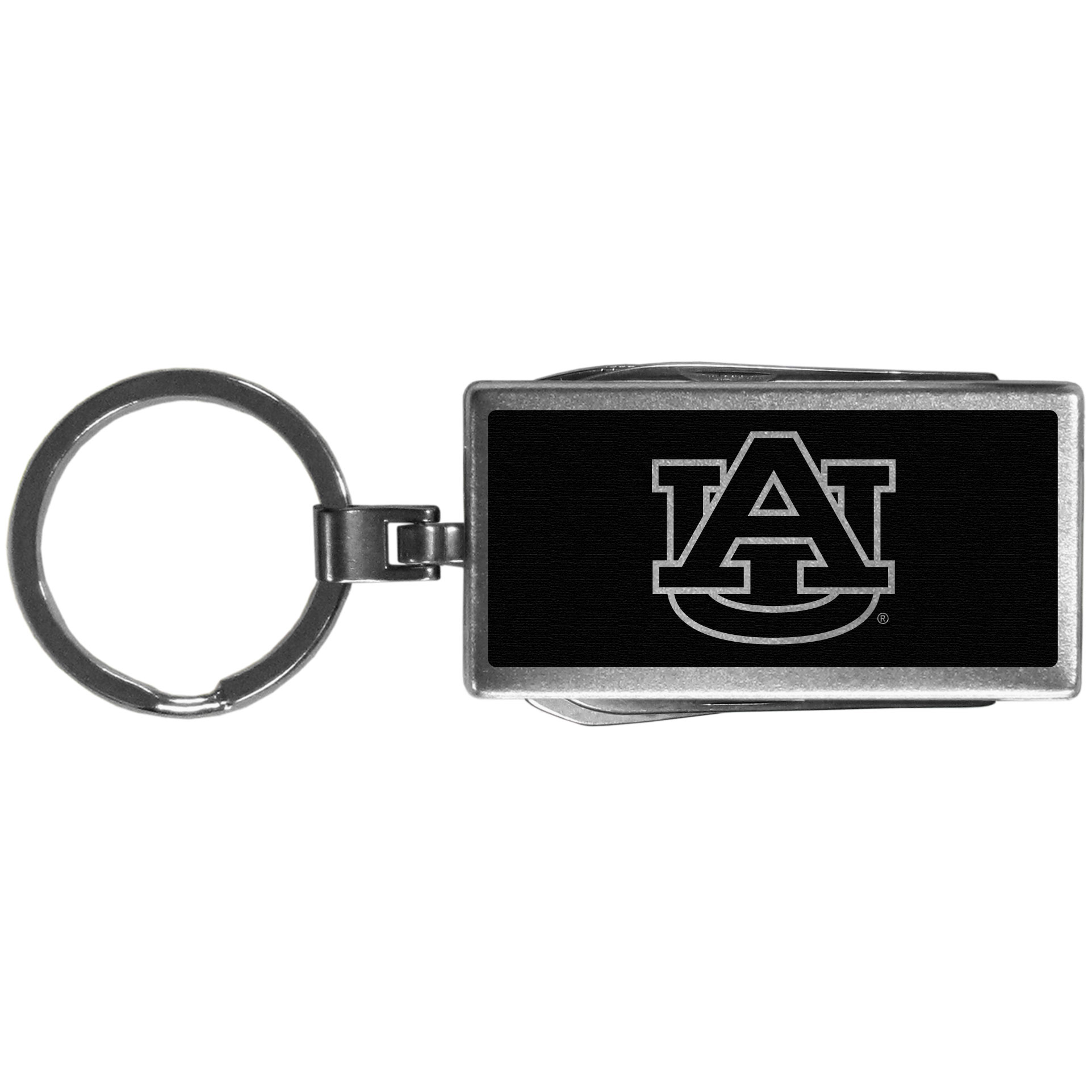 Auburn Tigers Multi-tool Key Chain, Black - Be the hero at the tailgate, camping, or on a Friday night with your Auburn Tigers Multi-Tool Keychain which comes complete with bottle opener, scissors, knife, nail file and screw driver. Be it opening a package or a beverage Siskiyou's Multi-Tool Keychain goes wherever your keys do. The keychain hangs at 4 inches long when closed.