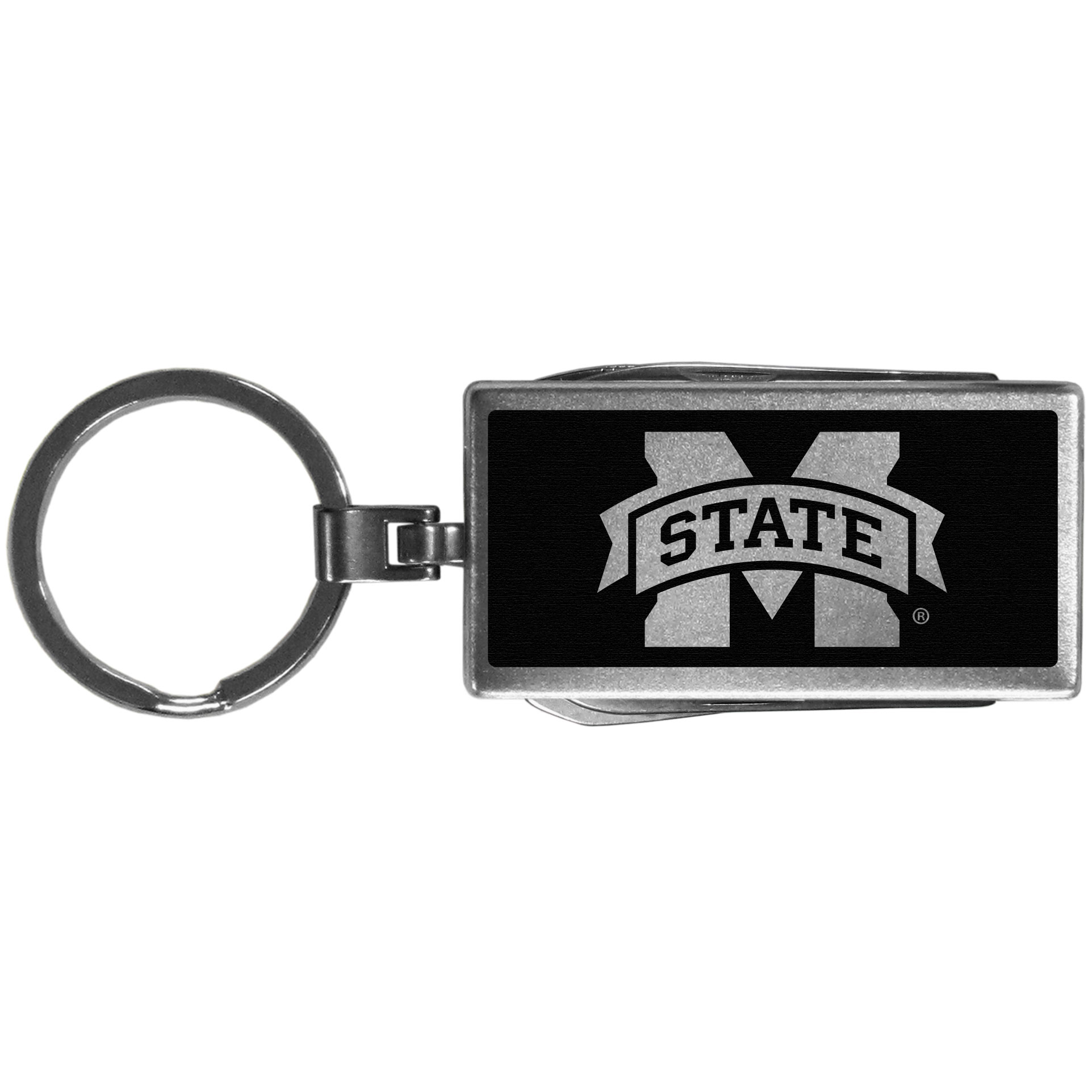 Mississippi St. Bulldogs Multi-tool Key Chain, Black - Be the hero at the tailgate, camping, or on a Friday night with your Mississippi St. Bulldogs Multi-Tool Keychain which comes complete with bottle opener, scissors, knife, nail file and screw driver. Be it opening a package or a beverage Siskiyou's Multi-Tool Keychain goes wherever your keys do. The keychain hangs at 4 inches long when closed.