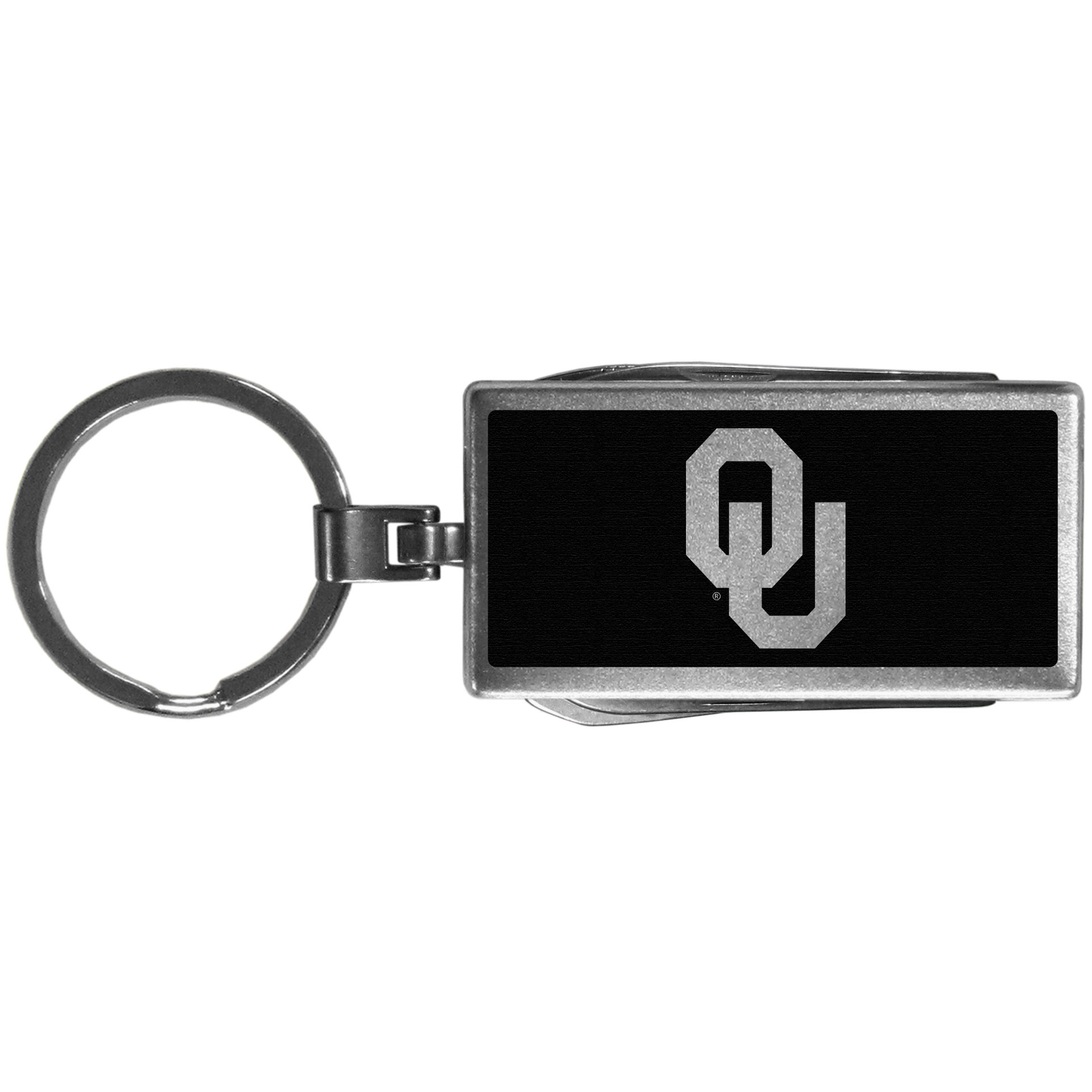 Oklahoma Sooners Multi-tool Key Chain, Black - Be the hero at the tailgate, camping, or on a Friday night with your Oklahoma Sooners Multi-Tool Keychain which comes complete with bottle opener, scissors, knife, nail file and screw driver. Be it opening a package or a beverage Siskiyou's Multi-Tool Keychain goes wherever your keys do. The keychain hangs at 4 inches long when closed.
