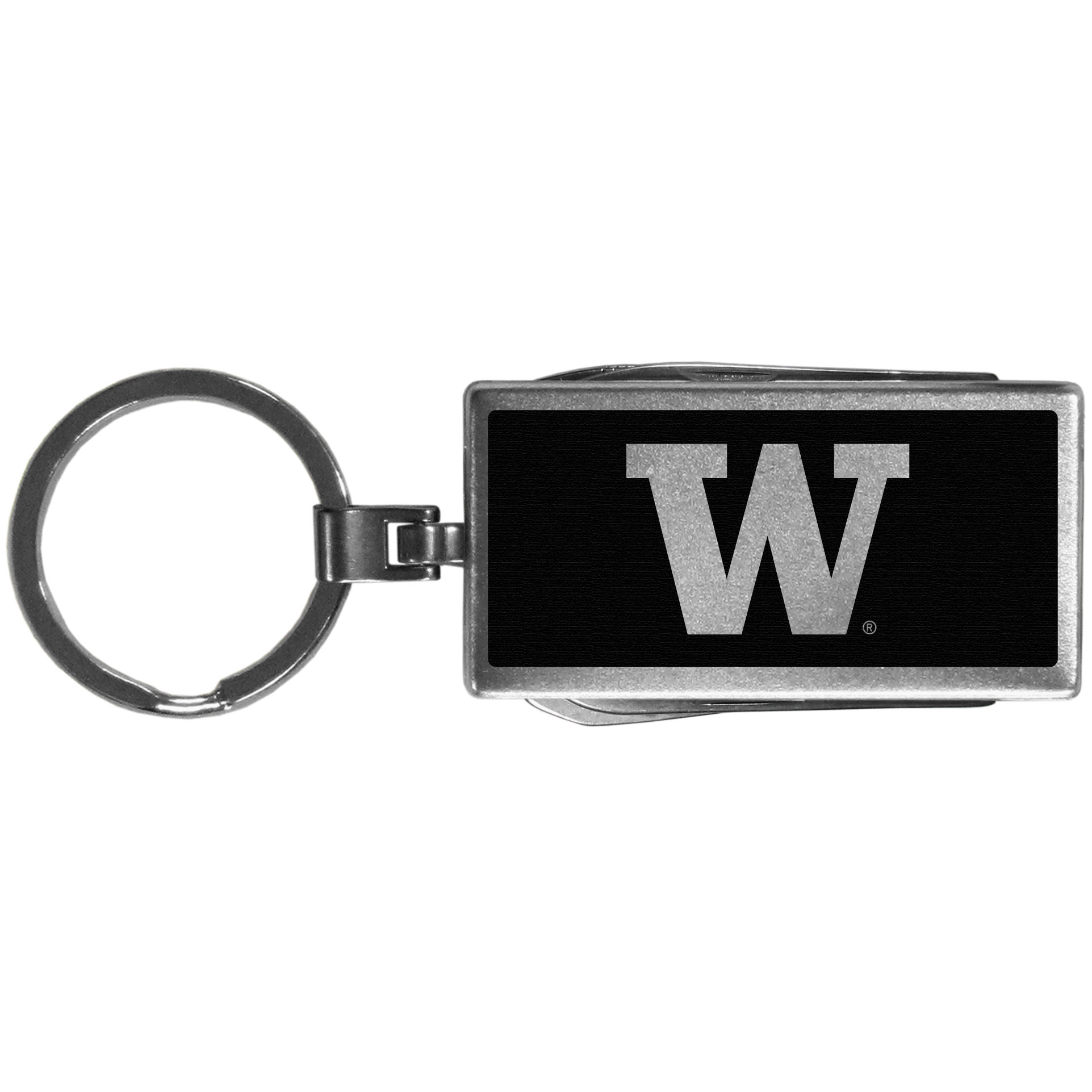 Washington Huskies Multi-tool Key Chain, Black - Be the hero at the tailgate, camping, or on a Friday night with your Washington Huskies Multi-Tool Keychain which comes complete with bottle opener, scissors, knife, nail file and screw driver. Be it opening a package or a beverage Siskiyou's Multi-Tool Keychain goes wherever your keys do. The keychain hangs at 4 inches long when closed.