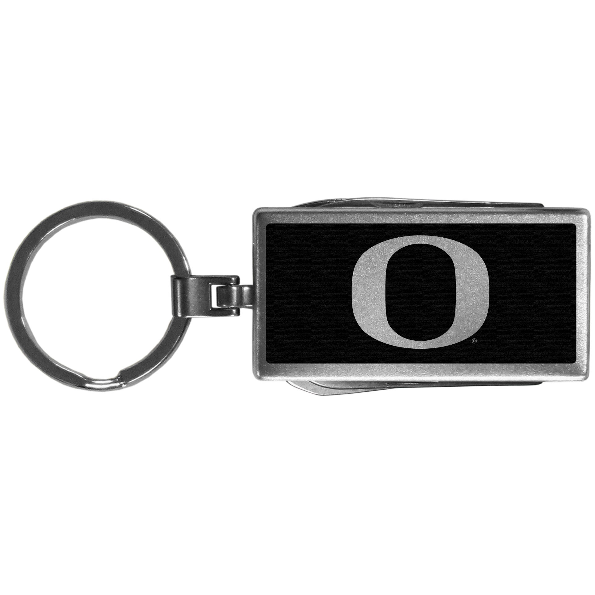 Oregon Ducks Multi-tool Key Chain, Black - Be the hero at the tailgate, camping, or on a Friday night with your Oregon Ducks Multi-Tool Keychain which comes complete with bottle opener, scissors, knife, nail file and screw driver. Be it opening a package or a beverage Siskiyou's Multi-Tool Keychain goes wherever your keys do. The keychain hangs at 4 inches long when closed.