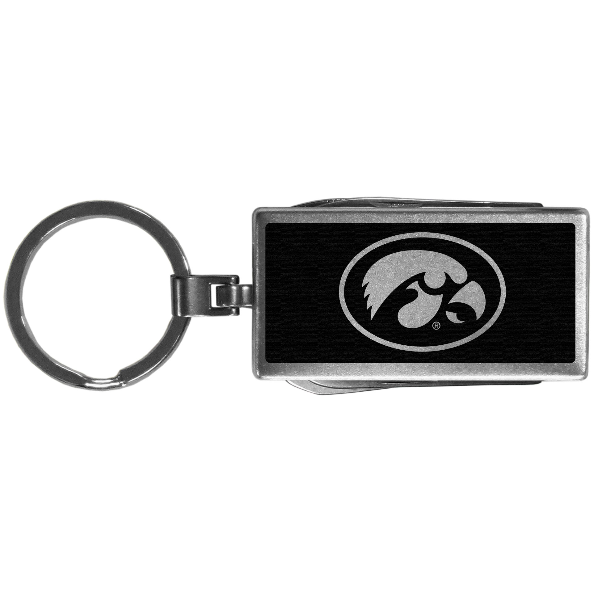 Iowa Hawkeyes Multi-tool Key Chain, Black - Be the hero at the tailgate, camping, or on a Friday night with your Iowa Hawkeyes Multi-Tool Keychain which comes complete with bottle opener, scissors, knife, nail file and screw driver. Be it opening a package or a beverage Siskiyou's Multi-Tool Keychain goes wherever your keys do. The keychain hangs at 4 inches long when closed.
