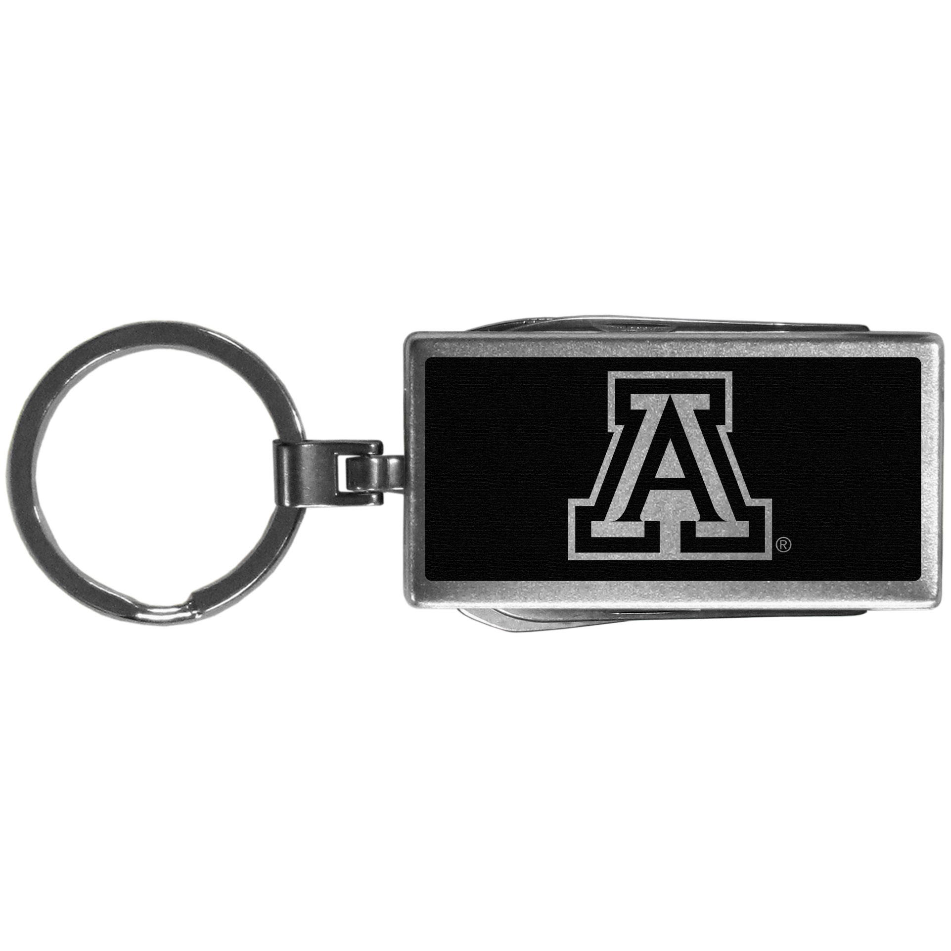 Arizona Wildcats Multi-tool Key Chain, Black - Be the hero at the tailgate, camping, or on a Friday night with your Arizona Wildcats Multi-Tool Keychain which comes complete with bottle opener, scissors, knife, nail file and screw driver. Be it opening a package or a beverage Siskiyou's Multi-Tool Keychain goes wherever your keys do. The keychain hangs at 4 inches long when closed.