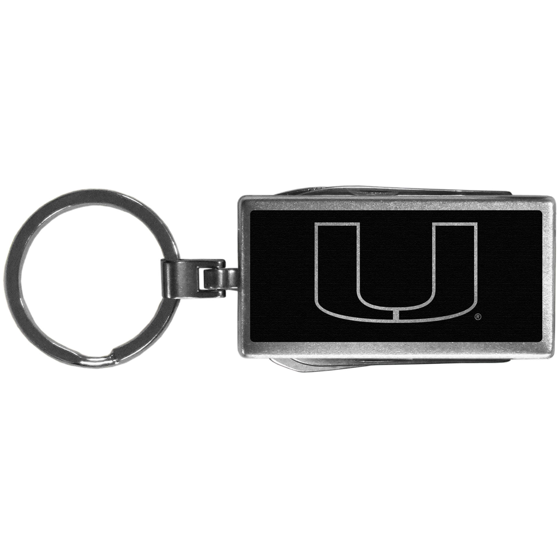 Miami Hurricanes Multi-tool Key Chain, Black - Be the hero at the tailgate, camping, or on a Friday night with your Miami Hurricanes Multi-Tool Keychain which comes complete with bottle opener, scissors, knife, nail file and screw driver. Be it opening a package or a beverage Siskiyou's Multi-Tool Keychain goes wherever your keys do. The keychain hangs at 4 inches long when closed.