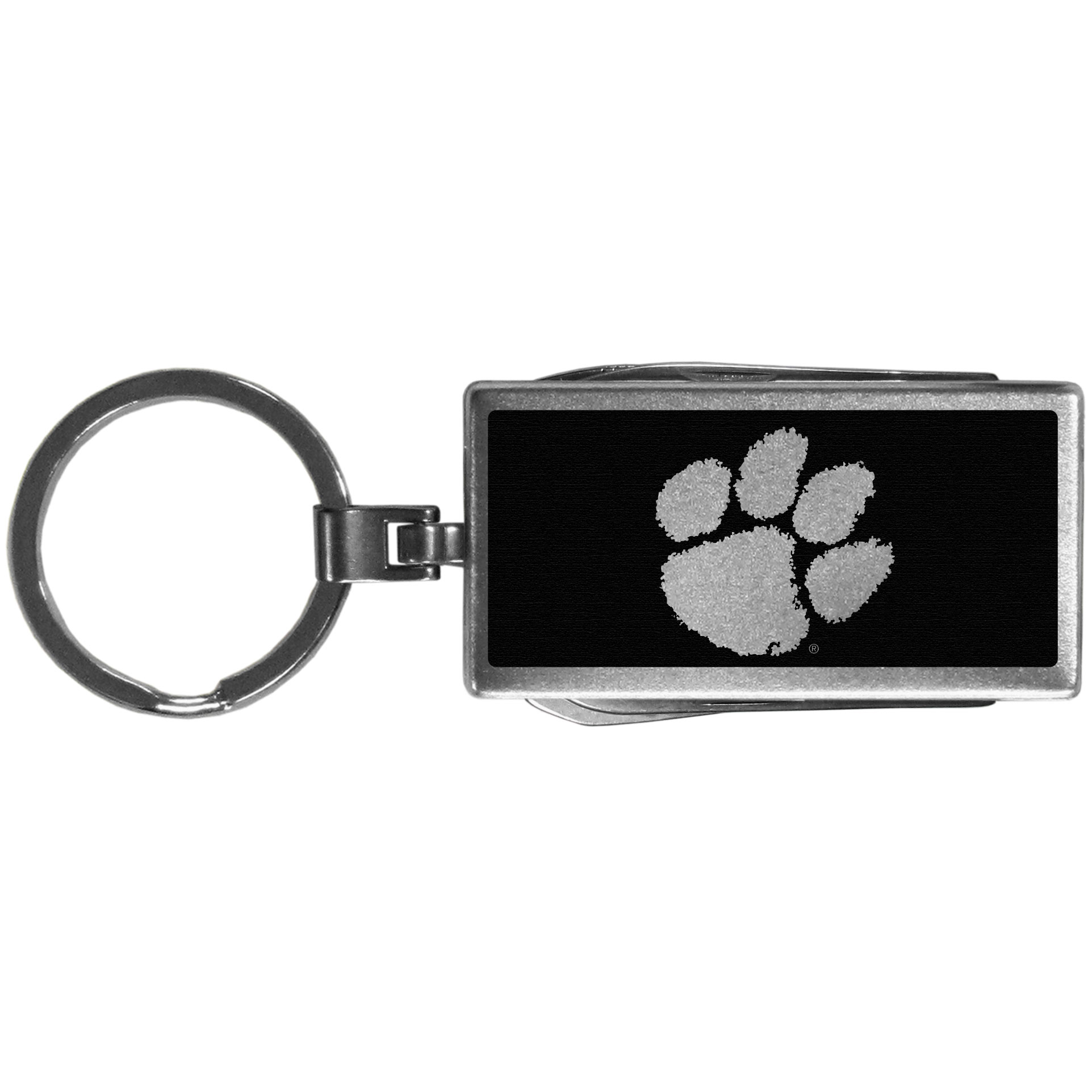 Clemson Tigers Multi-tool Key Chain, Black - Be the hero at the tailgate, camping, or on a Friday night with your Clemson Tigers Multi-Tool Keychain which comes complete with bottle opener, scissors, knife, nail file and screw driver. Be it opening a package or a beverage Siskiyou's Multi-Tool Keychain goes wherever your keys do. The keychain hangs at 4 inches long when closed.