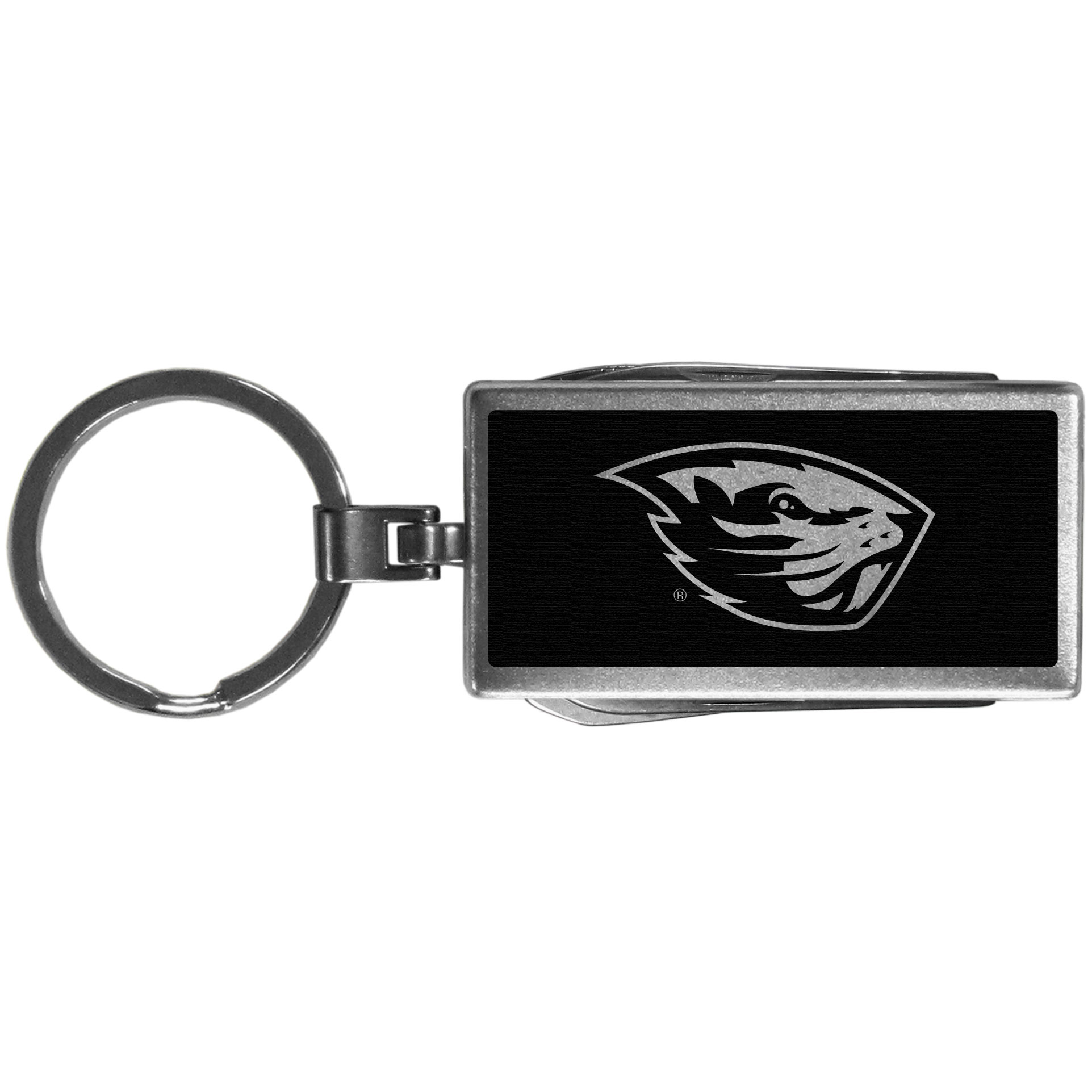 Oregon St. Beavers Multi-tool Key Chain, Black - Be the hero at the tailgate, camping, or on a Friday night with your Oregon St. Beavers Multi-Tool Keychain which comes complete with bottle opener, scissors, knife, nail file and screw driver. Be it opening a package or a beverage Siskiyou's Multi-Tool Keychain goes wherever your keys do. The keychain hangs at 4 inches long when closed.