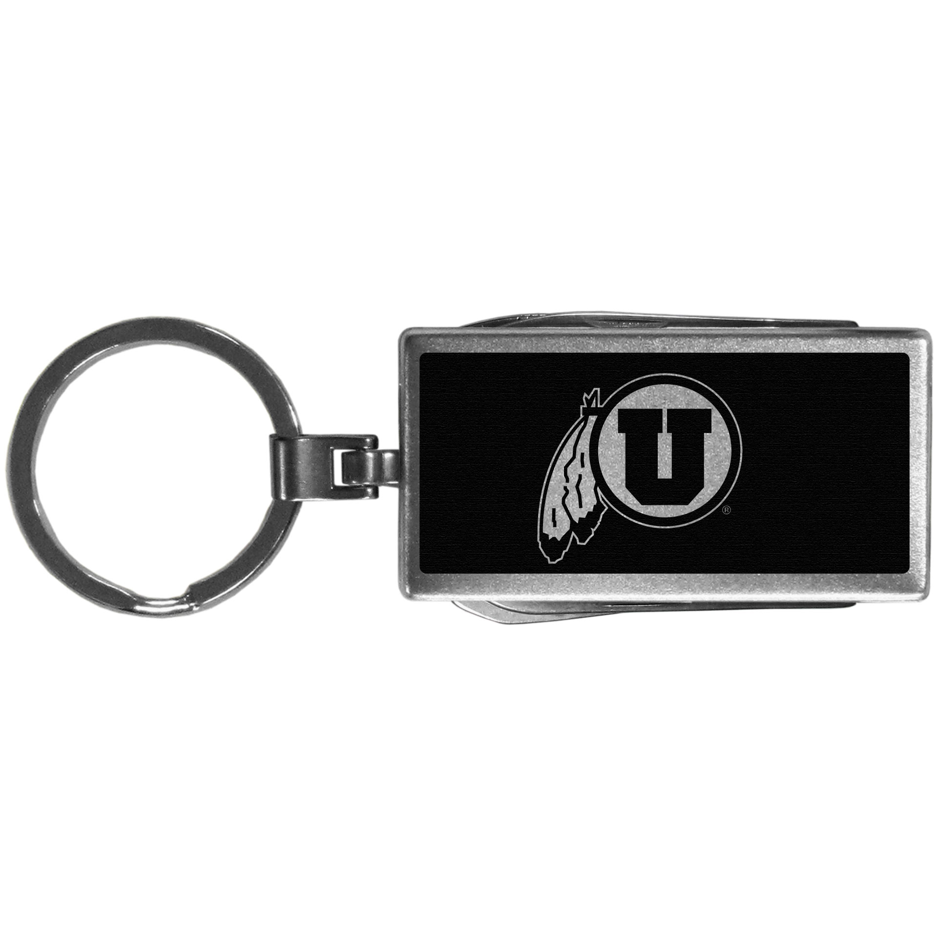 Utah Utes Multi-tool Key Chain, Black - Be the hero at the tailgate, camping, or on a Friday night with your Utah Utes Multi-Tool Keychain which comes complete with bottle opener, scissors, knife, nail file and screw driver. Be it opening a package or a beverage Siskiyou's Multi-Tool Keychain goes wherever your keys do. The keychain hangs at 4 inches long when closed.