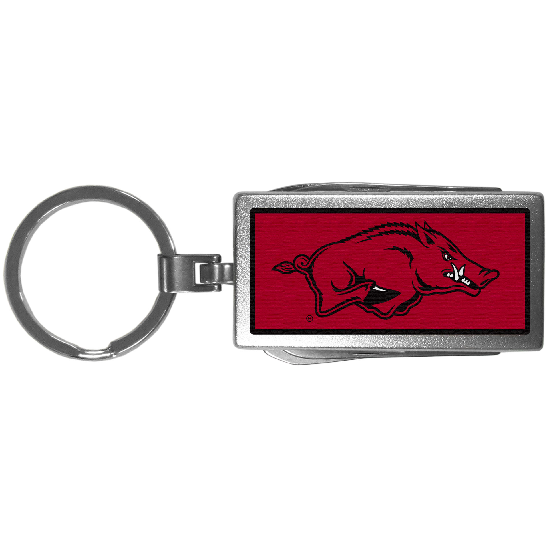 Arkansas Razorbacks Multi-tool Key Chain, Logo - Be the hero at the tailgate, camping, or on a Friday night with your Arkansas Razorbacks Multi-Tool Keychain which comes complete with bottle opener, scissors, knife, nail file and screw driver. Be it opening a package or a beverage Siskiyou's Multi-Tool Keychain goes wherever your keys do. The keychain hangs at 4 inches long when closed.