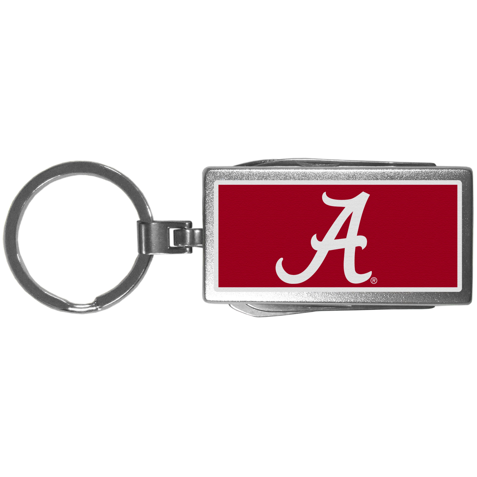 Alabama Crimson Tide Multi-tool Key Chain, Logo - Be the hero at the tailgate, camping, or on a Friday night with your Alabama Crimson Tide Multi-Tool Keychain which comes complete with bottle opener, scissors, knife, nail file and screw driver. Be it opening a package or a beverage Siskiyou's Multi-Tool Keychain goes wherever your keys do. The keychain hangs at 4 inches long when closed.