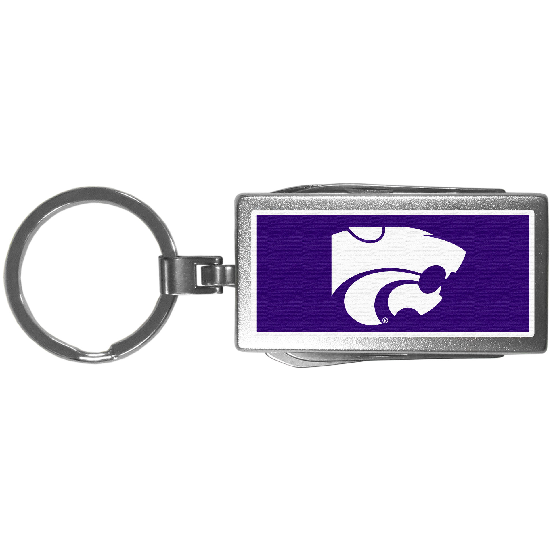 Kansas St. Wildcats Multi-tool Key Chain, Logo - Be the hero at the tailgate, camping, or on a Friday night with your Kansas St. Wildcats Multi-Tool Keychain which comes complete with bottle opener, scissors, knife, nail file and screw driver. Be it opening a package or a beverage Siskiyou's Multi-Tool Keychain goes wherever your keys do. The keychain hangs at 4 inches long when closed.
