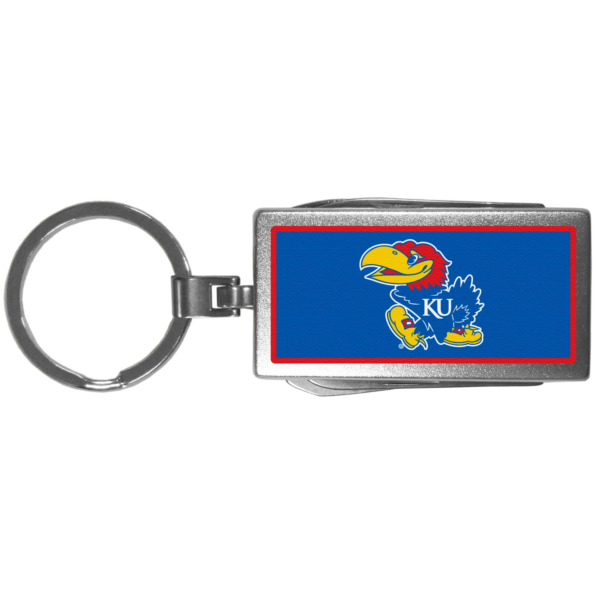 Kansas Jayhawks Multi-tool Key Chain, Logo - Be the hero at the tailgate, camping, or on a Friday night with your Kansas Jayhawks Multi-Tool Keychain which comes complete with bottle opener, scissors, knife, nail file and screw driver. Be it opening a package or a beverage Siskiyou's Multi-Tool Keychain goes wherever your keys do. The keychain hangs at 4 inches long when closed.