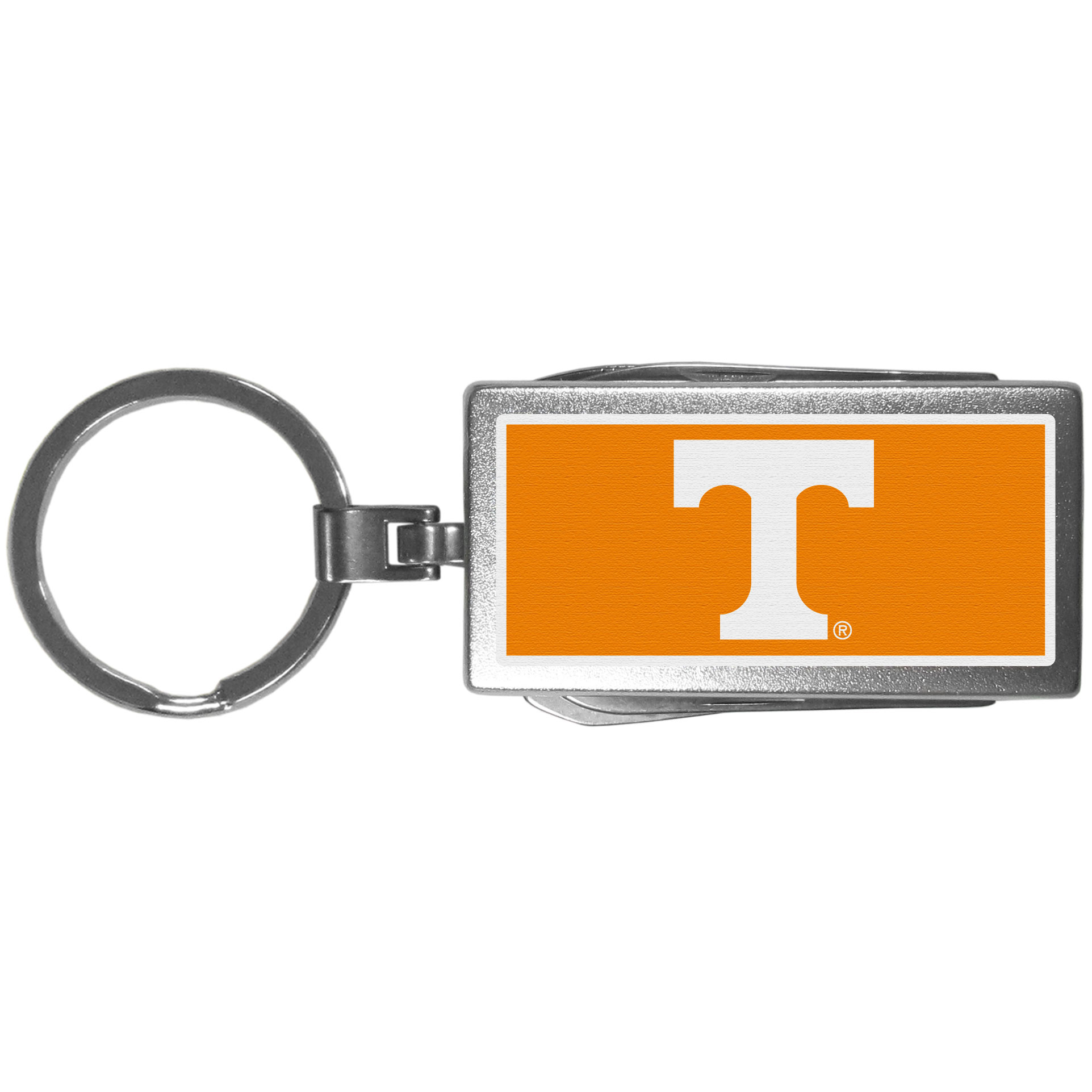 Tennessee Volunteers Multi-tool Key Chain, Logo - Be the hero at the tailgate, camping, or on a Friday night with your Tennessee Volunteers Multi-Tool Keychain which comes complete with bottle opener, scissors, knife, nail file and screw driver. Be it opening a package or a beverage Siskiyou's Multi-Tool Keychain goes wherever your keys do. The keychain hangs at 4 inches long when closed.