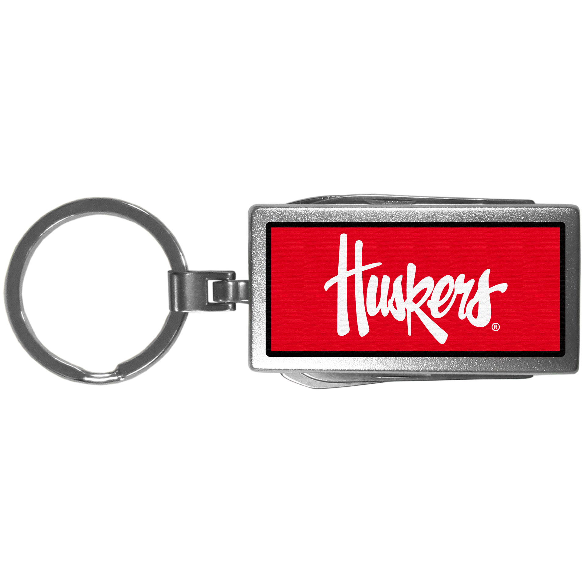 Nebraska Cornhuskers Multi-tool Key Chain, Logo - Be the hero at the tailgate, camping, or on a Friday night with your Nebraska Cornhuskers Multi-Tool Keychain which comes complete with bottle opener, scissors, knife, nail file and screw driver. Be it opening a package or a beverage Siskiyou's Multi-Tool Keychain goes wherever your keys do. The keychain hangs at 4 inches long when closed.