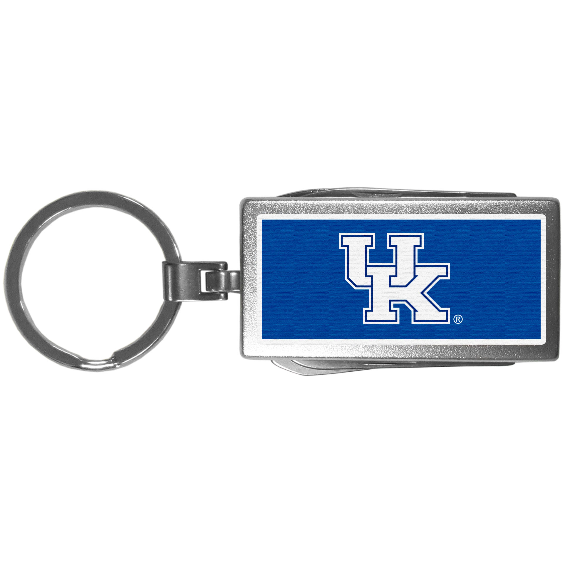 Kentucky Wildcats Multi-tool Key Chain, Logo - Be the hero at the tailgate, camping, or on a Friday night with your Kentucky Wildcats Multi-Tool Keychain which comes complete with bottle opener, scissors, knife, nail file and screw driver. Be it opening a package or a beverage Siskiyou's Multi-Tool Keychain goes wherever your keys do. The keychain hangs at 4 inches long when closed.
