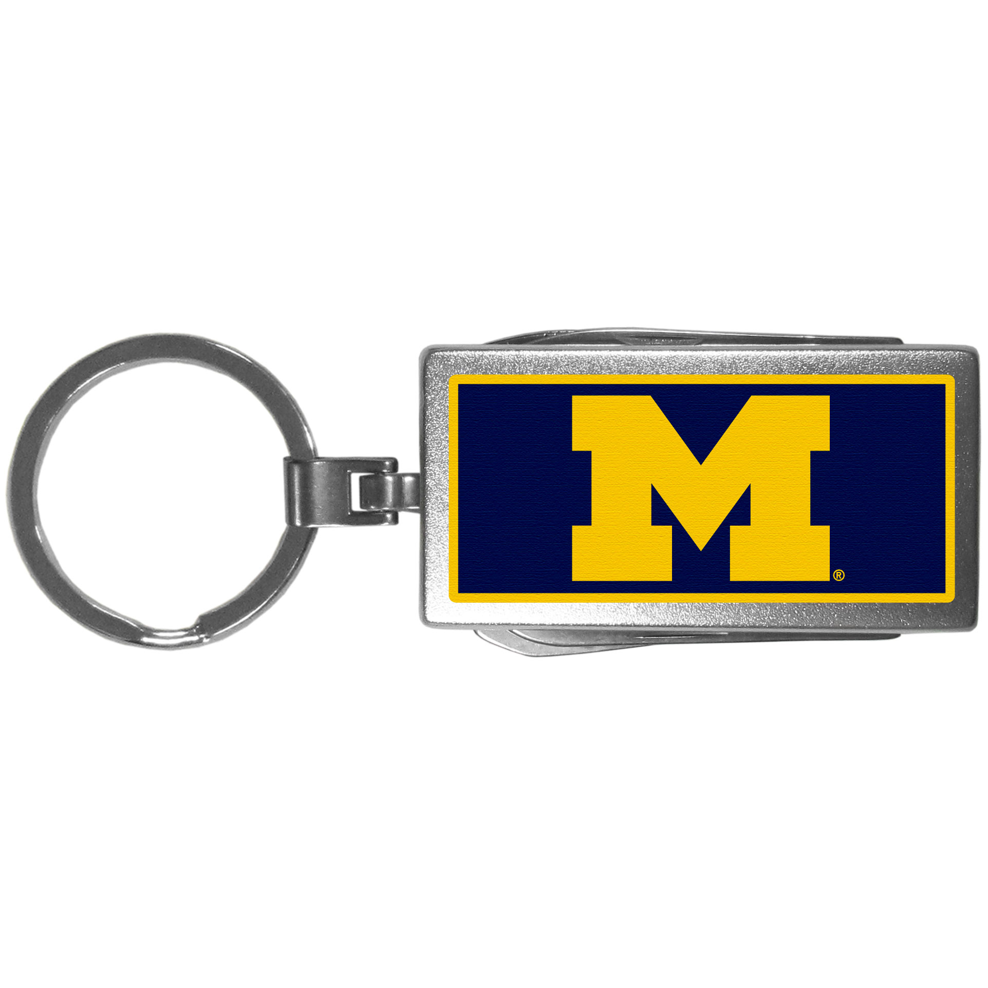 Michigan Wolverines Multi-tool Key Chain, Logo - Be the hero at the tailgate, camping, or on a Friday night with your Michigan Wolverines Multi-Tool Keychain which comes complete with bottle opener, scissors, knife, nail file and screw driver. Be it opening a package or a beverage Siskiyou's Multi-Tool Keychain goes wherever your keys do. The keychain hangs at 4 inches long when closed.