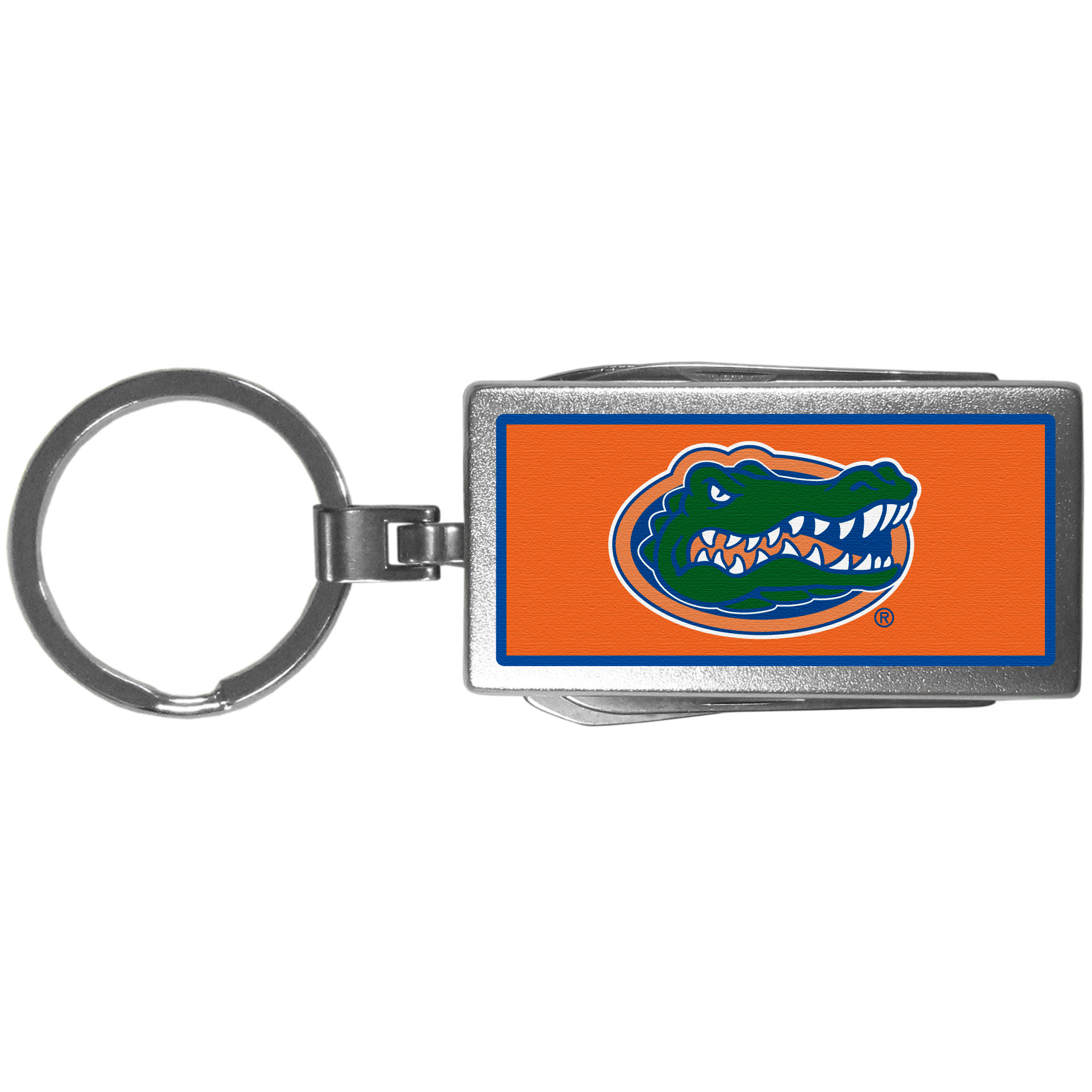 Florida Gators Multi-tool Key Chain, Logo - Be the hero at the tailgate, camping, or on a Friday night with your Florida Gators Multi-Tool Keychain which comes complete with bottle opener, scissors, knife, nail file and screw driver. Be it opening a package or a beverage Siskiyou's Multi-Tool Keychain goes wherever your keys do. The keychain hangs at 4 inches long when closed.